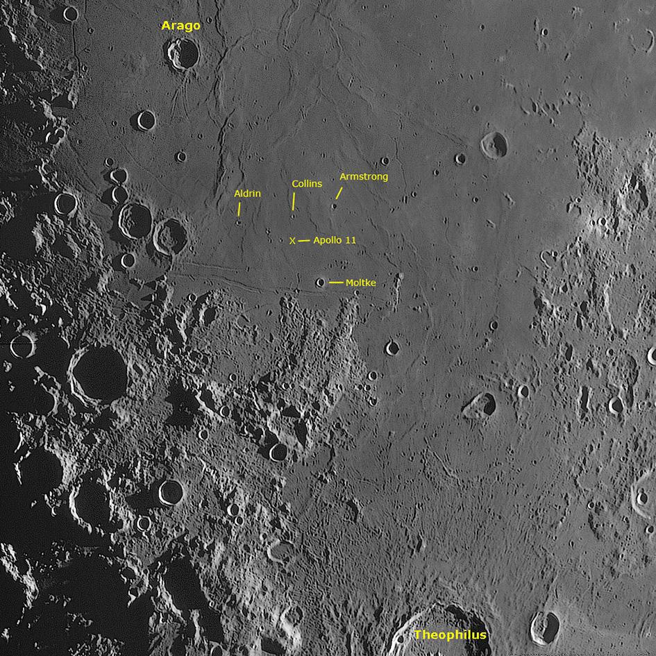 Mare Tranquillitatis mit Landeplatz der Apollo 11 – Mission, Helmut Heinicke